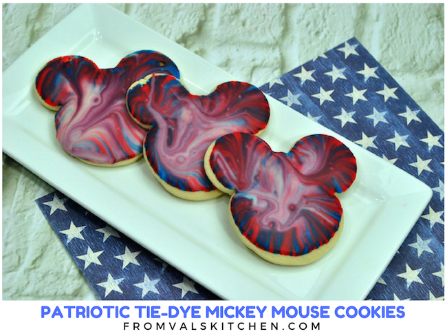 Patriotic Tie-Dye Mickey Mouse Cookies