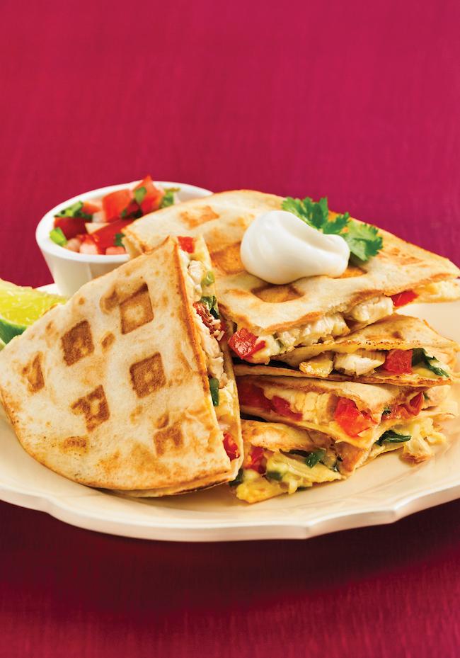 Pico de Gallo Chicken Quesadillas - 150 Best Waffle Maker Recipes