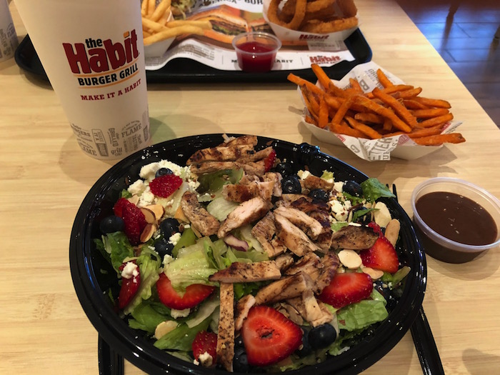 New Fresh Berry and Toasted Almond Salad with Chicken At The Habit