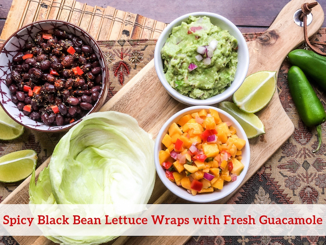 Spicy Black Bean Lettuce Wraps with Fresh Guacamole