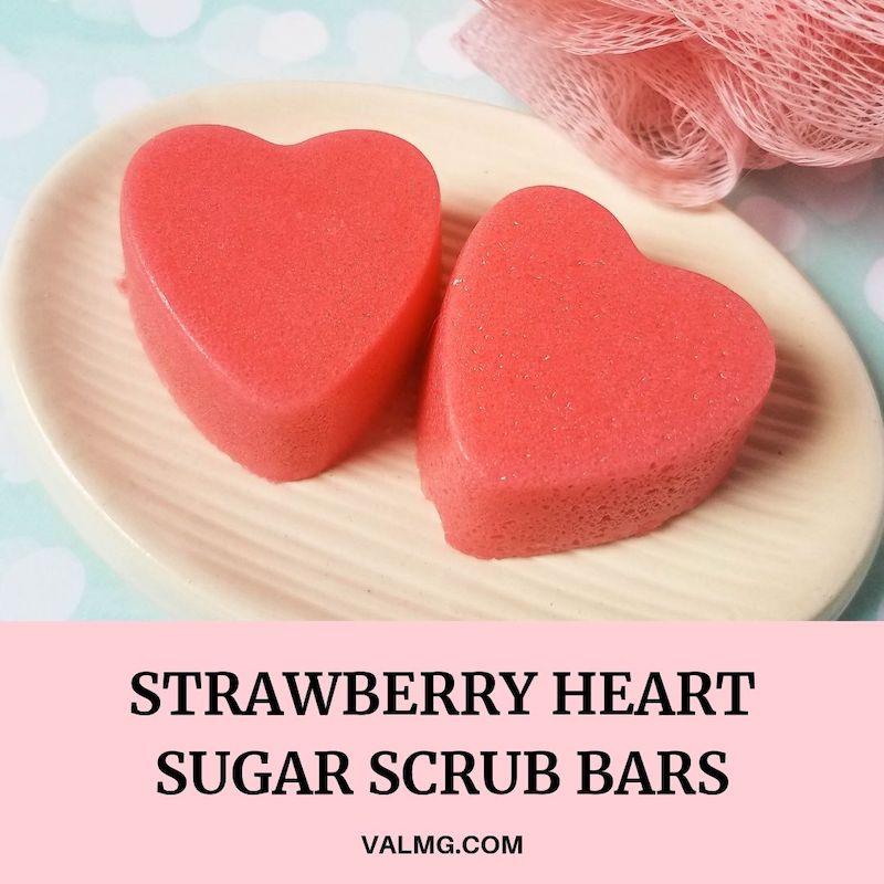 DIY Strawberry Heart Sugar Scrub Bars