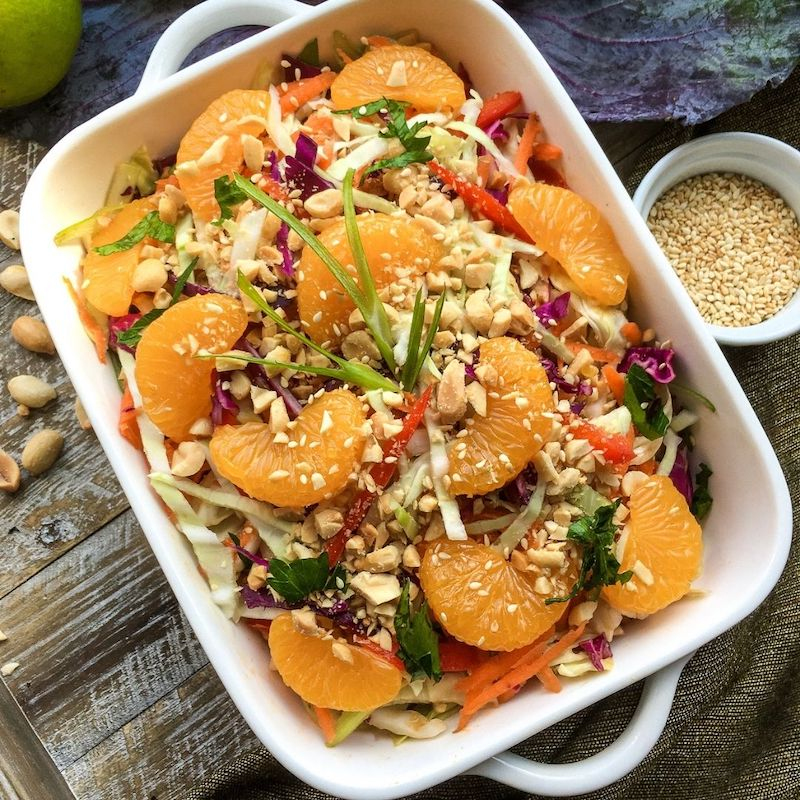 Asian Cabbage Salad with Spicy Peanut Dressing Recipe