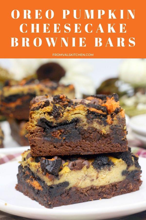 Oreo Pumpkin Cheesecake Brownie Bars Recipe From Val's Kitchen