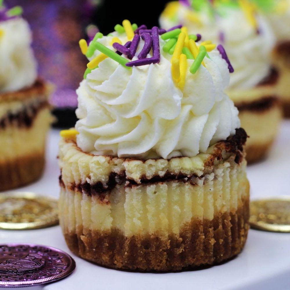 Mardi Gras Mini Cheesecakes