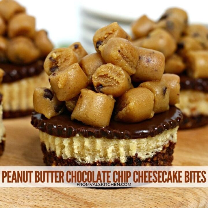 PEANUT BUTTER CHOCOLATE CHIP CHEESECAKE BITES